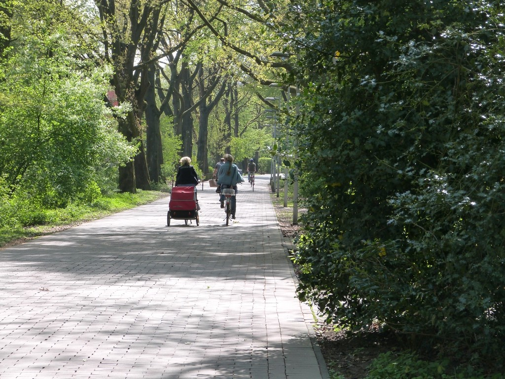 Piétons, poussettes et vélos cohabitent sur un chemin de Wulfen-Barkenberg, Dorsten
