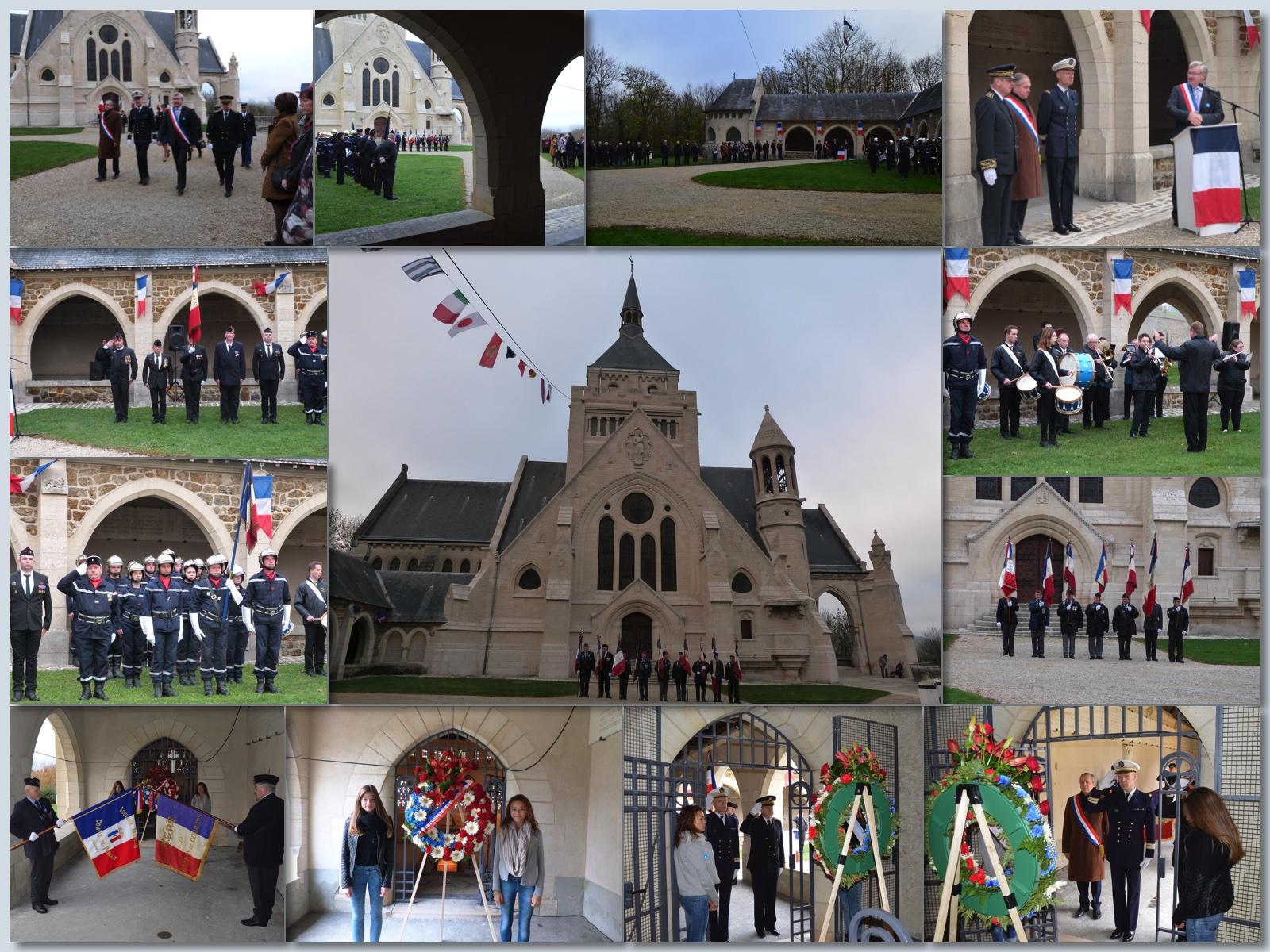 montage d'images de la cérémonie du 11 novembre 2015 au Mémorial de Dormans
