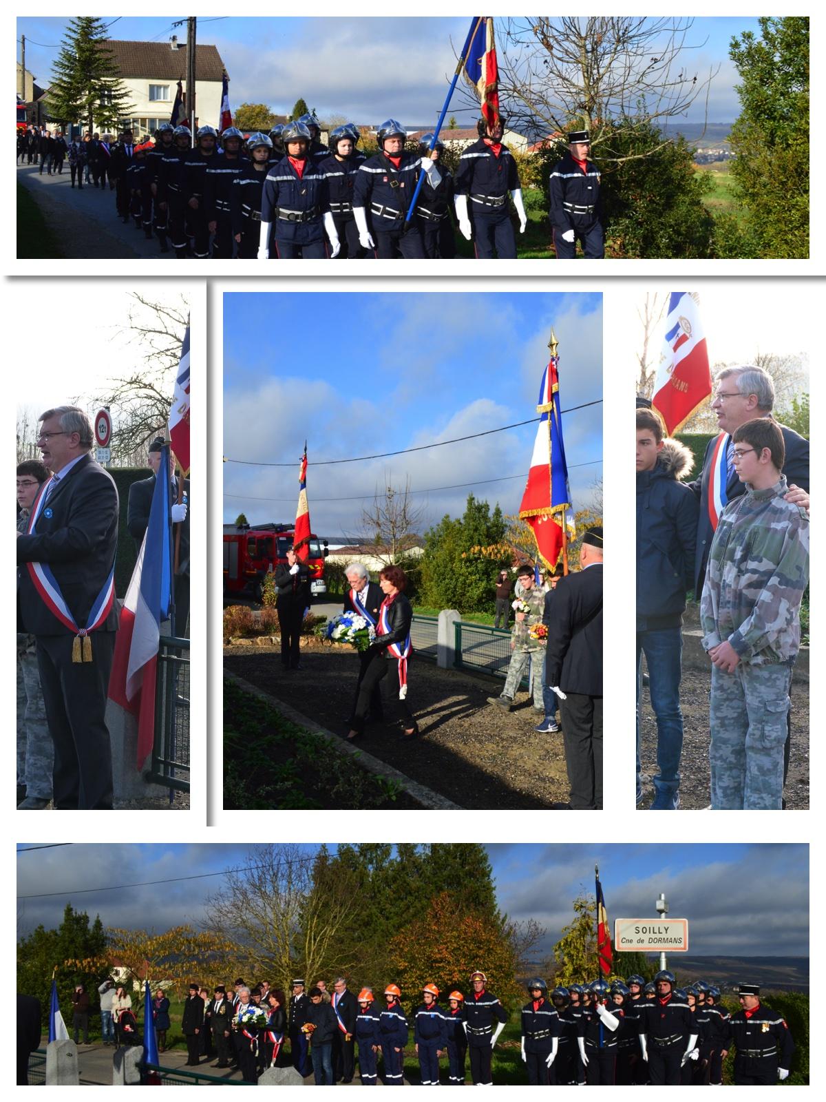montage de photos de la cérémonie du 11 novembre 2015 à Soilly