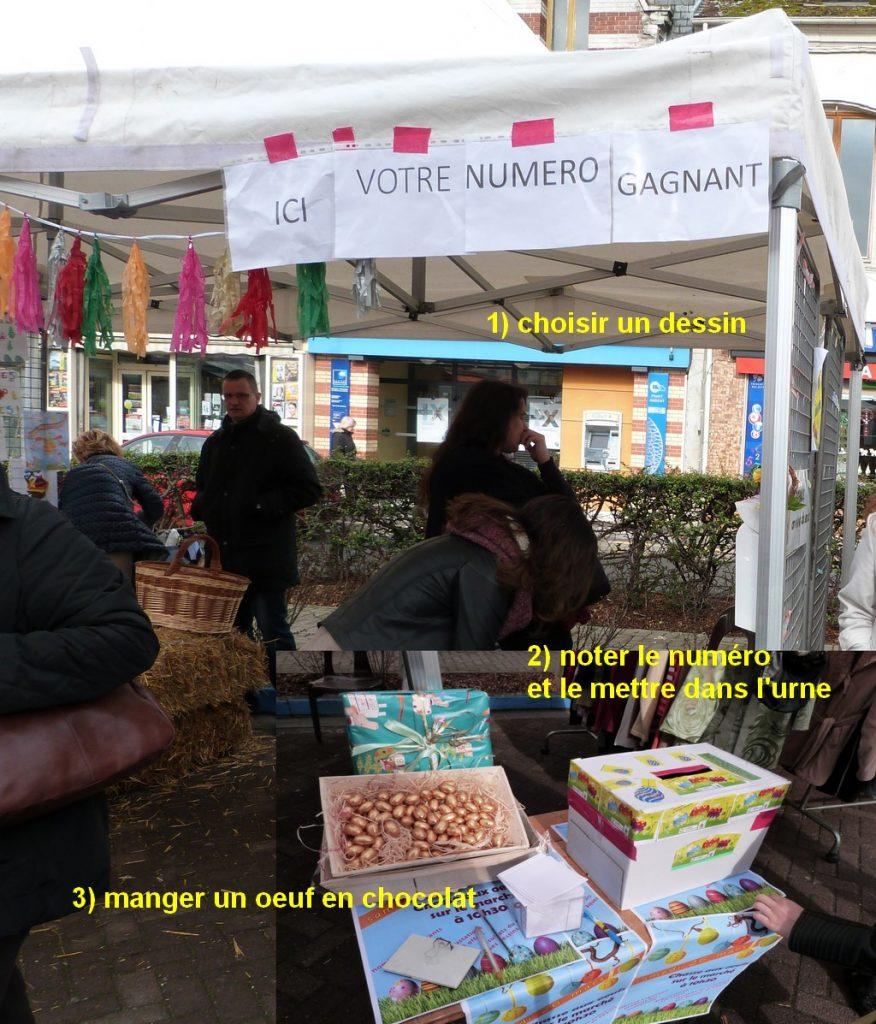 Les modalités du choix des dessins sur le marché pour l'animation de Pâques au marché de Dormans