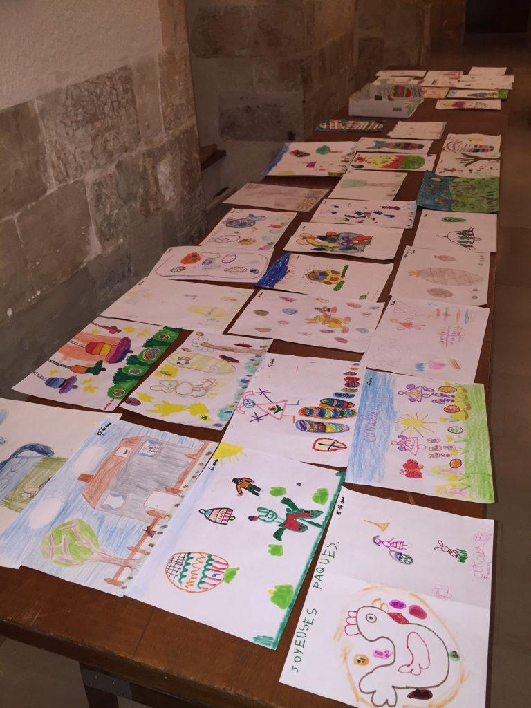 Les dessins lors de la sélection pour l'animation de Pâques au marché de Dormans