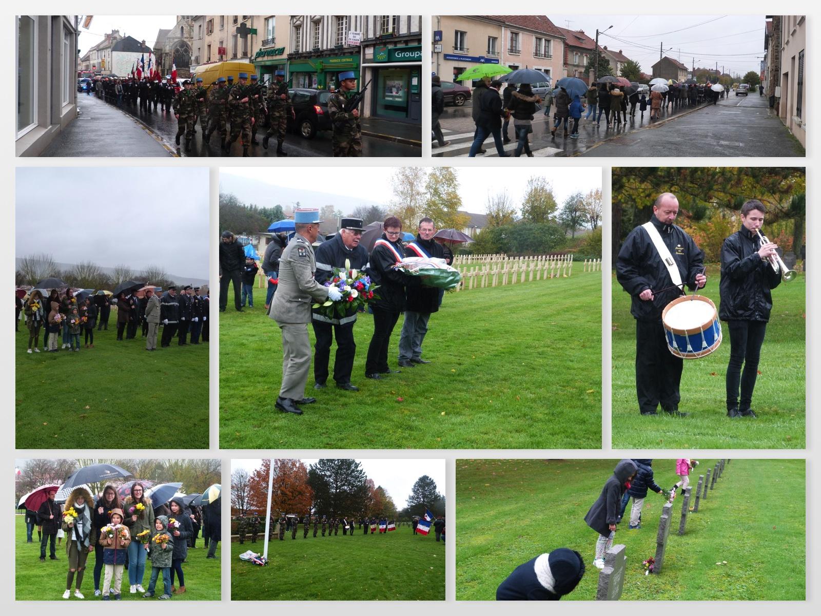 Cortège à travers la ville puis au cimetière militaire., 11 novembre 2017 à Dormans.