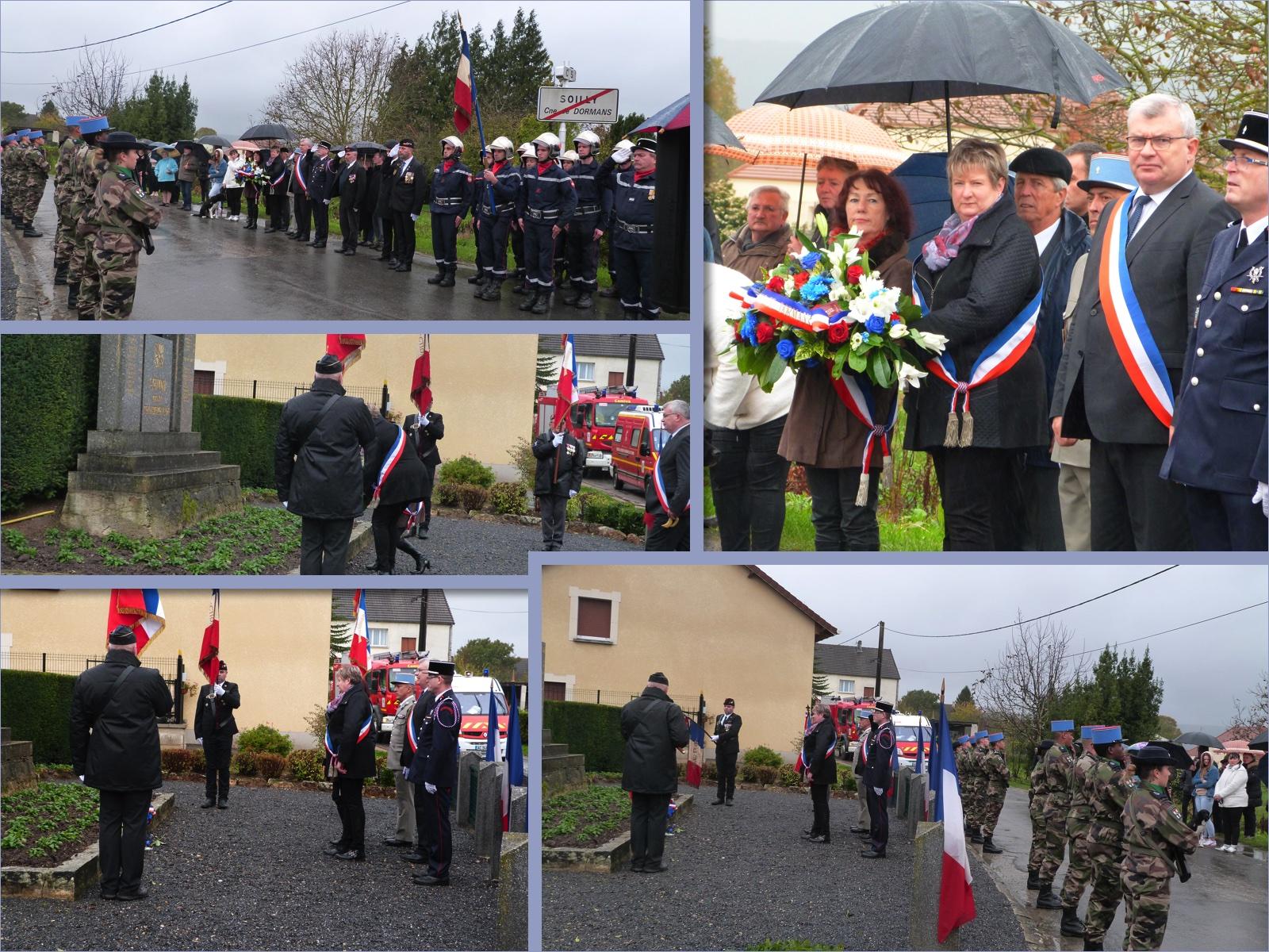 11 novembre 2017, cérémonie dans le hameau de Soilly à Dormans