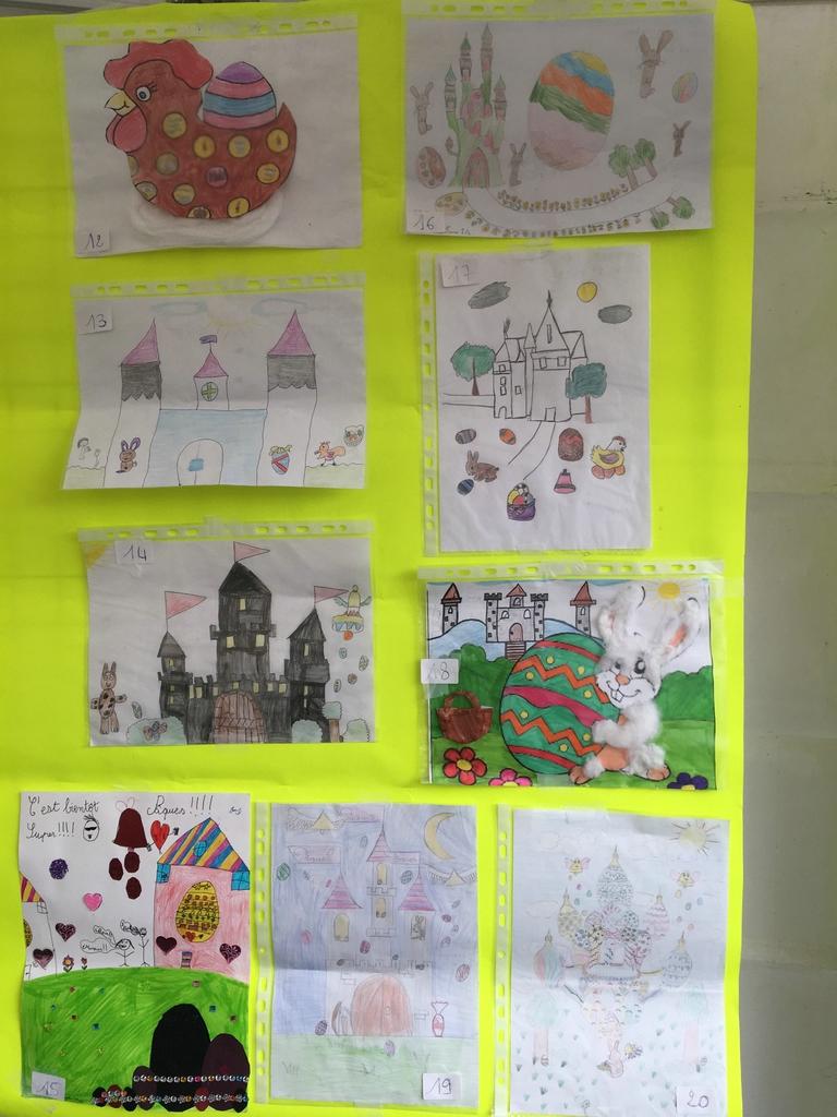 Les dessins sélectionnés pour le concours de dessins de Pâques