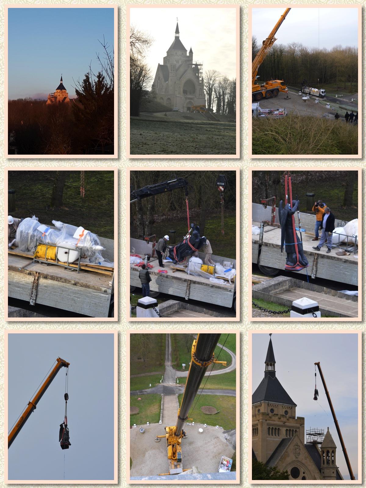 1ère étape du retour de la statue de Saint Michel au Mémorial de Dormans