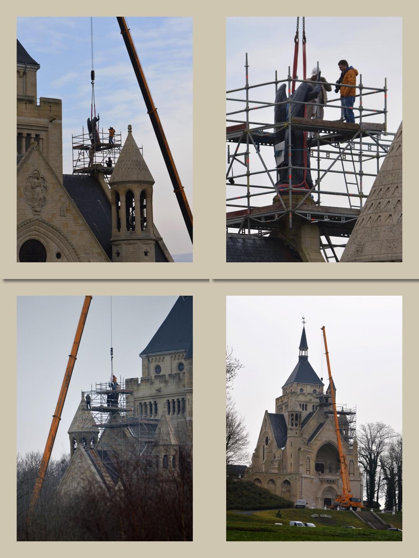 2è étape : dépôt de la statue de saint Michel sur son socle au Mémorial de Dormans.