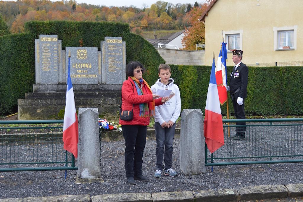 lecture des noms des morts pour la France 11 novembre 2018 à Soilly