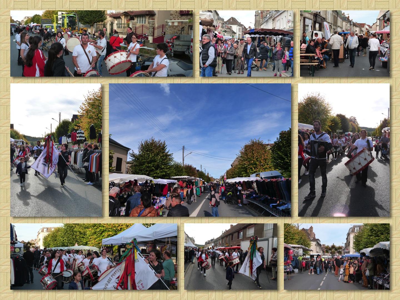 les stands des exposants de la foire 2019 à Dormans et le défilé des bombos du Groupe Portugais de Reims