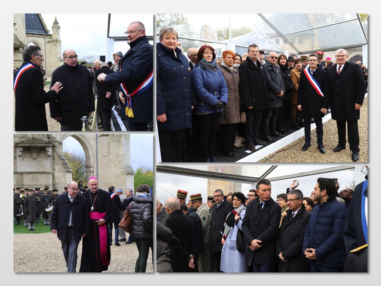 les invités lors de la cérémonie du 14 novembre 2019 au mémorial de Dormans : Député, évêque, Rectrice, généraux, élus,représentants d'associations