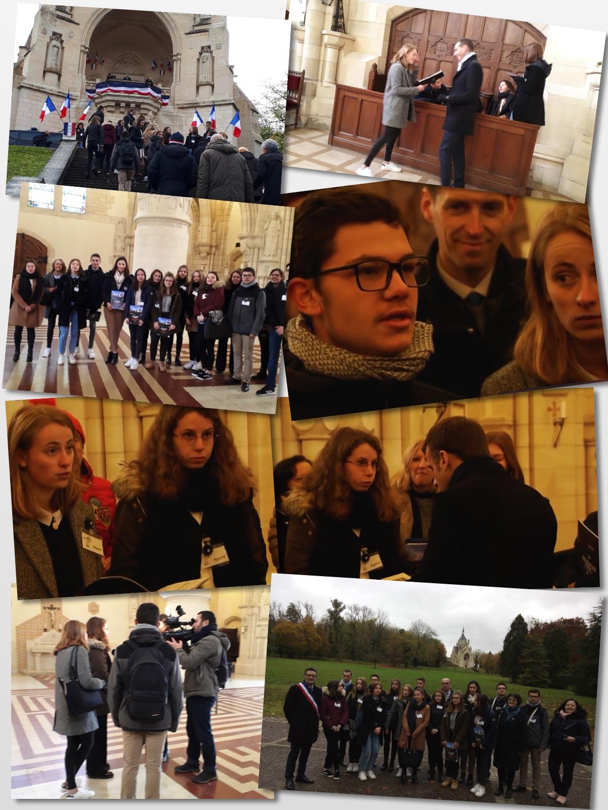 Les lycéens avant, pendant et après l'entretien avec le Président de la République au Mémorial de Dormans le 14 novembre 2019