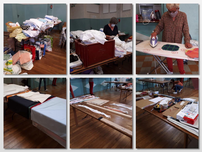 Les tissus que vous nous avez apportés, le découpage des bords pour en faire des rubans, les rubans découpés aux bonnes dimensions, la table de la