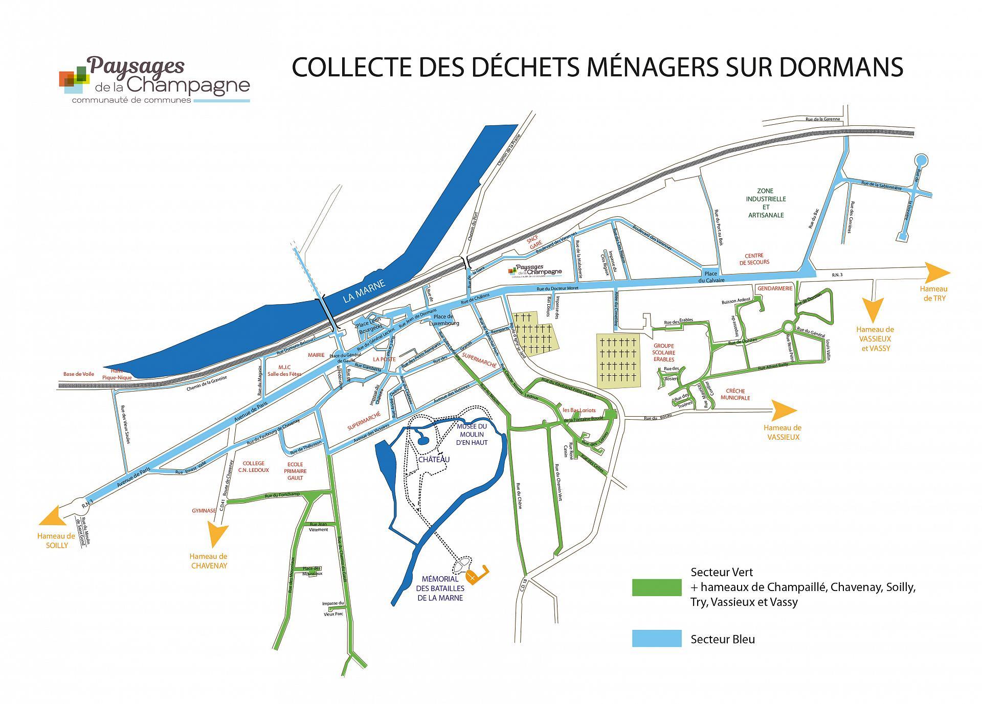 Plan des secteurs pour le ramassage des déchets à Dormans