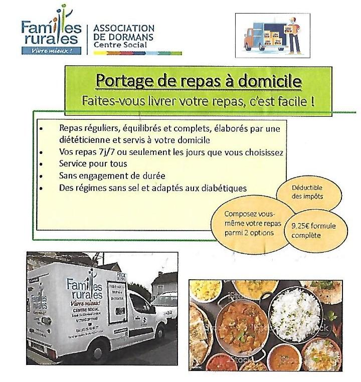 publicite portage repas par Familles Rurales à Dormans